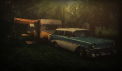 Hazy Daze (Steve Walser) Tags: chevy stationwagon trailer traveltrailer shasta