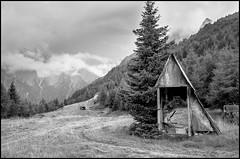 Wandering through lost places (Guido Colombini) Tags: abandonedplaces bw tree bianconero alps clouds mountains land vallecamonica fog rover ski skilift