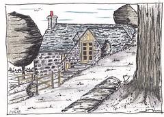 Village de Vines (J-M.I) Tags: dessin illustration graphisme aubrac artiste exposition orlhaguet eglise aquarelle paysage