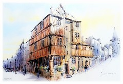 Bayeux - Normandie - France (guymoll) Tags: bayeux france croquis sketch crayon crayonsdecouleur colourpencils colombages maisons normandie