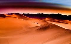 Mesquite Sand Dunes #2 (EyezOfAChild) Tags: dunes sand color desert dawn mountains lowlight footsteps deathvalley landscape