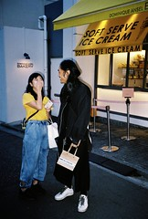 Omotesando. (romy_clair) Tags: night evening tokyo japan flash colour portrait girl guy man woman laughing youth amateur analogue film kodak pentax 35mm fujifilm