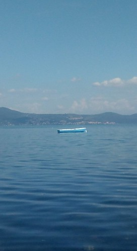 blue boat on Lake Bracciano