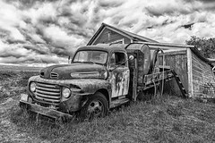 Driver's Ed (D E Pabst Photography) Tags: agriculture asotincounty rusted abandoned southeastwashington monochrome ford truck neglected blackandwhite farm ranch watertruck peola washington