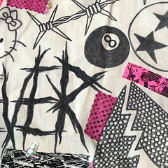 Drowning Skirt - Closeup (leannaperry) Tags: leannaperry illustration desigm fashion streetstyle custom diy handmade garment newyork brooklyn kawaii design designer blackmetal hellokitty graphic lettering punk goth emo