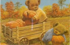 Postcrossing RU-6742158 (booboo_babies) Tags: autumn bear pumpkins fall teddybear wagon cute postcrossing orange
