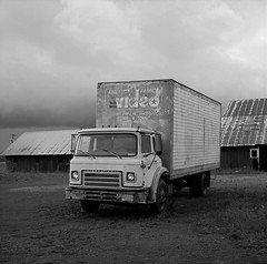 Truck, near Donald, Oregon (austin granger) Tags: donald oregon truck farm field video evidence time american decay impermanence forsale square film gf670