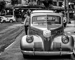 In front of the Beirut (George Stastny. Photographer.) Tags: street streetphotography streets cars car classic classy monochrome blackandwhite bnw bw panama panamacity driver getolympus olympus omd travel travelphotography travelling