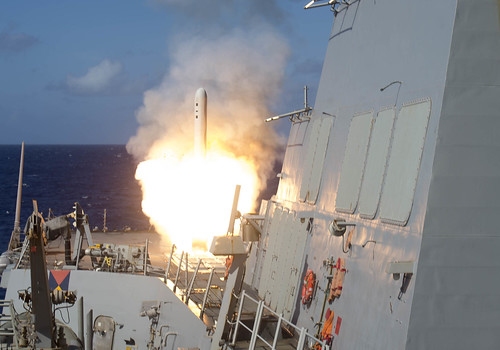 A Tomahawk cruise missile launches from USS Shoup.