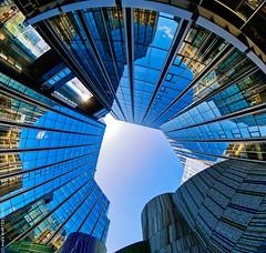 Les Miroirs (L'Abominable Homme de Rires) Tags: ladéfense skyscraper immeuble tour architecture paris canon5d 5dmkiii cannon fisheye 815mmfisheyef4 dxo photolab lightroom