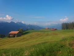 Waldegg, Bernese Oberland (arjenvanveldhuisen) Tags: zwitserland berneroberland berglandschap switserland waldegg beatenberg mountains meadow samsunggalaxy bergen barn