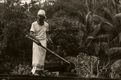 Pura Maintenance 3 (Triple_B_Photography) Tags: bali balinese blackwhite canon contrast culture eos 2017 7d asia faith hindu hinduism indonesia lokal lifestyle portrait people sepia travel tourism tropical traditional temple world burn cleaning pura