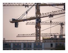 Cranes @ dusk (UF178 ) (Rebirth of a HFSA45200 ) (AurelioZen) Tags: europe netherlands zuidholland rotterdam katendrecht highrise cranes lumixgx9 torenkraan imagesensorwithoutaafilter