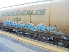 170 (en-ri) Tags: freeze bnd azzurro blu nero arancione arrow 2017 train torino graffiti writing treno merci freight transcereales