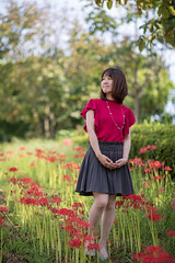 Young woman walking in red spider lily field (Apricot Cafe) Tags: img107850 asia asianandindianethnicities canonef85mmf14lisusm japan japaneseethnicity kasairinkaipark tokyojapan autumn beautifulwoman capitalcities casualclothing charming colorimage copyspace day enjoyment fulllength happiness leisureactivity lifestyles lookingaway nature necklace oneperson oneyoungwomanonly onlywomen outdoors people photography portrait publicpark realpeople redspiderlily relaxing shortsleeved smiling straighthair walking women youngadult tokyo tokyoprefecture jp