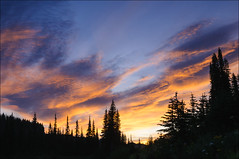 Rainier Sunrise (Greg Vaughn) Tags: sunrise clouds reflectionlake mountrainiernationalpark washington sky trees conifers coniferous forest pacificnorthwest usa america american west western northwestern outdoors nature travel scenic landscape gregvaughn gv09080290