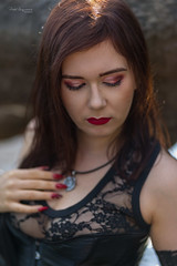 Outdoor portrait (piotr_szymanek) Tags: minerwa portrait outdoor woman young skinny face redhead longhair hand transparent blouse water tree river 1k 20f 50f 5k 10k 20k