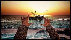 That akward feeling, when you want to make a picture from the sunrise. But you have no camera. (Jarno Parisi ツ) Tags: sunrise sun hands arms avatar sl secondlife summer me man male composition boat water sea ocean waves