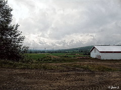 Clouds (Jean S..) Tags: cloudy clouds tools shed landscape trees green field rural