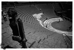 Pompeiorum theatrum (orichier) Tags: italy pompei campania theatrum blackwhite film ilford hp5 roman empire vesuvio architecture girl woman people