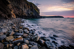 High Tide - Little Haven - Pembrokeshire (Max Hawkins) Tags: cliff coast coastline colour flow hightide littlehaven longexposure nationalpark pembrokeshire pembs rocks sea sky sun sunlight sunset tide uk wales water waves