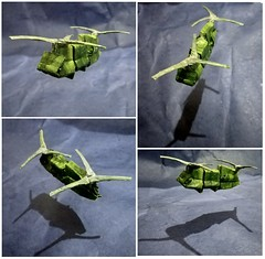ORIGAMI - BOEING CH-47 CHINOOK HELICOPTER (Neelesh K) Tags: origami boeing ch47 chinook helicopter neeleshk paper folding tracing color change 32 grids boxpleating