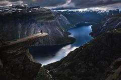 Jump! (Alicja Zmysłowska) Tags: trolltunga norway landscape fjord scandinavia dog dogs jump border collie view