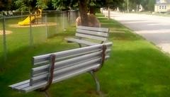 Playground benches - HBM! (Maenette1) Tags: playground benches slide fence street menominee uppermichigan happybenchmonday flicker365 allthingsmichigan absolutemichigan projectmichigan