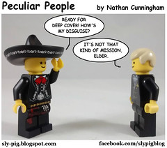 Peculiar People 13 (Nathan C. Cunningham) Tags: lego legocomic webcomic comics peculiarpeople lds latterdaysaint mormon christian humor faith religion mission missionaries disguise