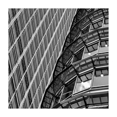 Contrasting Styles (PeteZab) Tags: square blackandwhite bw mono buildings architecture modern contemporary lines pattern diagonal curve peterzabulis petezab