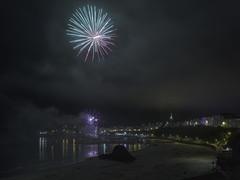 Tenby Fireworks (Steve_Mallett) Tags: fireworks beach castle steeple pembrokeshire reflections