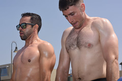 Two Focused CrossFit Athletes (Chris Hunkeler) Tags: men male males athletes shirtlessguys machos sincamisa hunks studs handsome muscular masculine pecs shaved hairy chest torso fit sweat sweaty hot