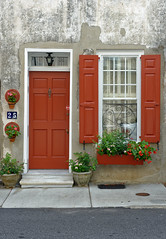 Red Door and Shutters (nick.mirkovich) Tags: architecture residence shutters flowers charleston southcarolina nikon d700