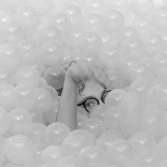 The BEACH at FunhouseDC (jtgfoto) Tags: approved nationalbuildingmuseum snarkitecture funhousedc alphacollective sonyimages sonyalpha architecture washingtondc architecturalphotography museum installation artwork washington blackandwhite bnw bw monochromatic glasses curls model bubbles balls