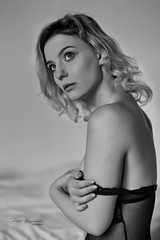 Boudoir intimacy (piotr_szymanek) Tags: sonia soniak blackandwhite portrait studio boudoir woman milf young skinny blonde face transparent lingerie bed 1k 20f 50f 100f 5k 10k 20k 30k