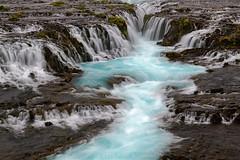 Blue Ribbon (pdxsafariguy) Tags: water nature river landscape waterfall iceland turquoise blue cascade bruarfoss europe motion blur moss grass tomschwabel
