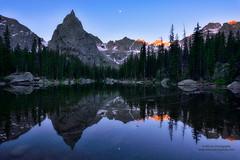 Morning Tranquility (Mengzhonghua) Tags: moonset colorado lone peak indianpeakswildernessarea wilderness lake mirror reflection