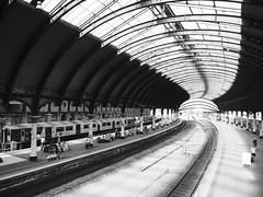 York Railway Station (Hammerhead27) Tags: view scene olympus grey monochrome bw bnw blackandwhite railroad curve design new old historic classic roof tracks rail station british england yorkshire york