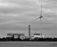 Lynemouth Power Station - Black and White (Gilli8888) Tags: nikon p900 coolpix northumberland lynemouth wind turbine sky clouds blackandwhite powerstation lynemouthpowerstation biomass industrial dusk