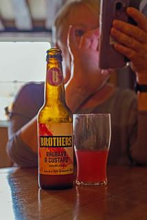 Bottle of Brothers Rhubarb & Custard Cider (Looks better than it Tastes) Fujifilm X100F (1 of 1)