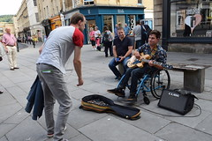 DSC_0019 (richardclarkephotos) Tags: simon john from cornwall guitar busking tour south england bath somerset uk spotty herberts signwriting guitarbitz cafe shops small retailers guildhall marketowl owls minerva