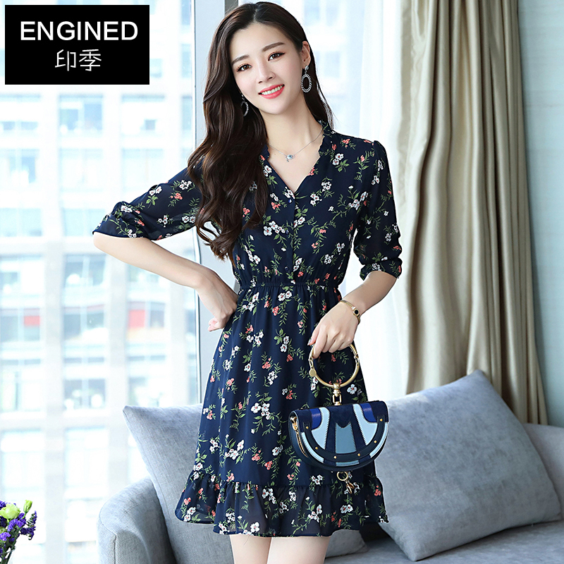 2018 new style chiffon dress, female short summer, short sleeves, thin and short skirts.