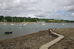 3KA09625a_C (Kernowfile) Tags: helford helfordriver ferry cornwall lowtide pier water boats trees grass hills sky clouds