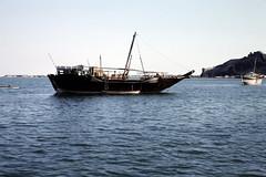 Dhow at Aden harbour (motohakone) Tags: dia arabia yemen arabien jemen slide 1992 digitized digitalisiert westasien westernasia alyaman ٱلْيَمَن kodachrome paperframe