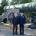 In front of the Tsar Cannon at the Kremlin in Moscow, Expedition 57 crewmembers Alexey Ovchinin of Roscosmos (left) and Nick Hague of NASA (right) pose for pictures Sept. 17 during traditional ceremonies. Hague and Ovchinin will launch Oct. 11 from the Ba