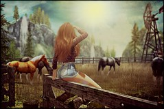 Well, butter my butt and call me a biscuit!  💋 (morganmonroe1) Tags: mystictimbers blueberry miel limerence anypose sexybuns countrygirl secondlife sl avatar ginger redhead shorts wild horses meadow