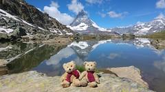 Koko Kiki and Matterhorn, Switzerland (NengHetty) Tags: matterhorn zermatt cograil lake glacier switzerland koko kiki bear teddybear reflection gornergrat