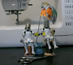 254 - 365 knight of the sewing table (horsesqueezing) Tags: clonetroopers sewing toys 365 thimble cotton tapemeasure scissors