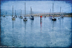 Harbor Series 20 (lorinleecary) Tags: sandspit bouy sailboats digitalart harbor photomophisbites morrobay painterly water textured artography lines fog blue red centralcoastcalifornia boats