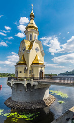 A church in the river (chemamb) Tags: sony mirrorless sonya5100 kiev ukraine river water cityscape church clouds architecture